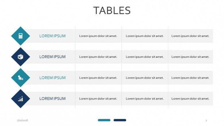 four row table with symbol slide presentation