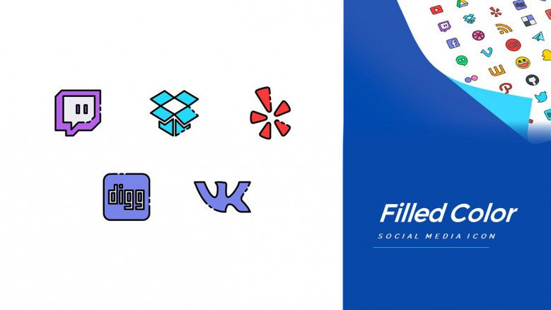 Color filled Social Media Icons