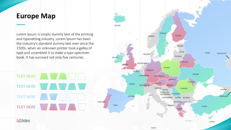 colorful europe map with 4 text points