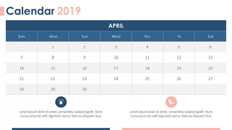 2019 calendar in April with text comments