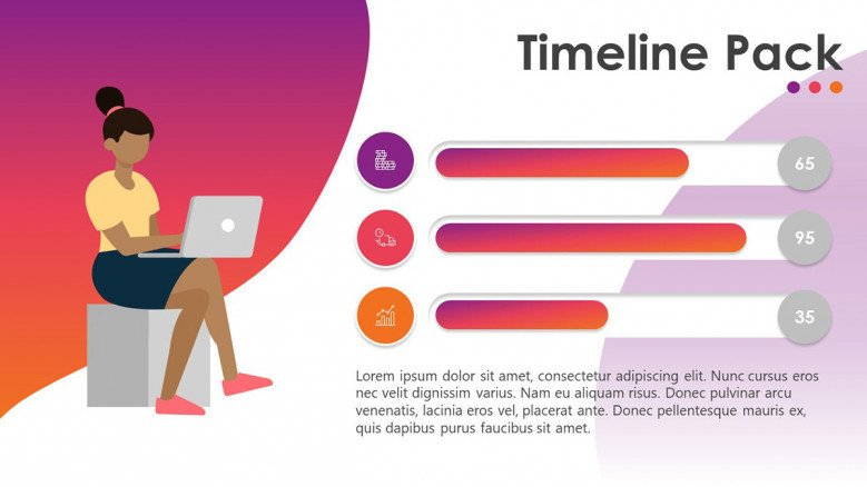 timeline slide with segmented key indicators
