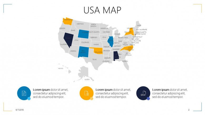USA map highlighted areas with key summaries