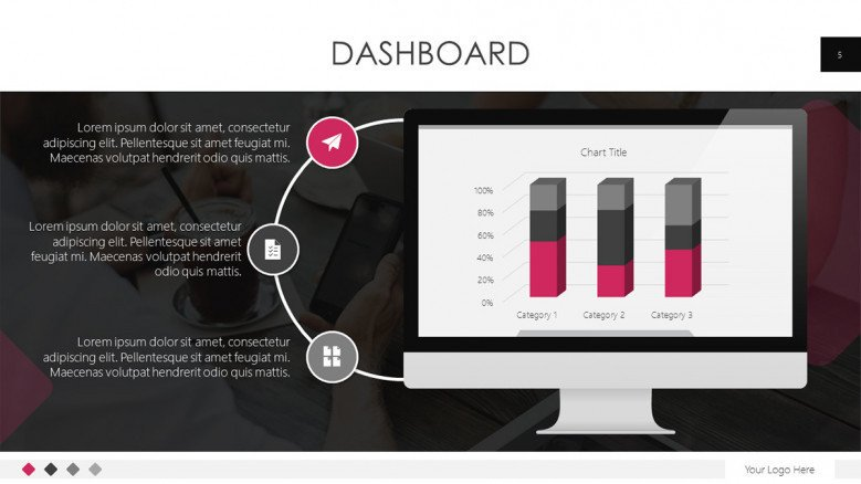 dashboard template in bar chart and three step cycle chart