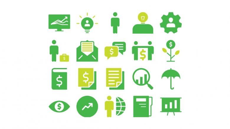 green and yellow color general icons slide