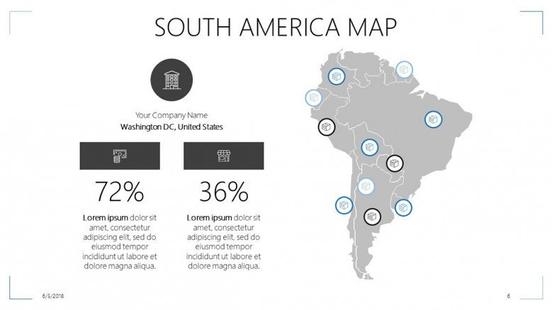 South america map free powerpoint template south america map slide with data percentage and text toneelgroepblik Choice Image