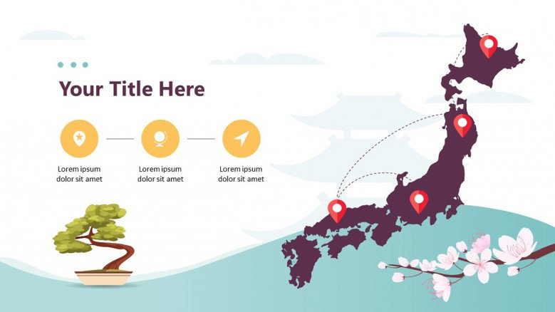 Japanese map slide with icons and illustrations