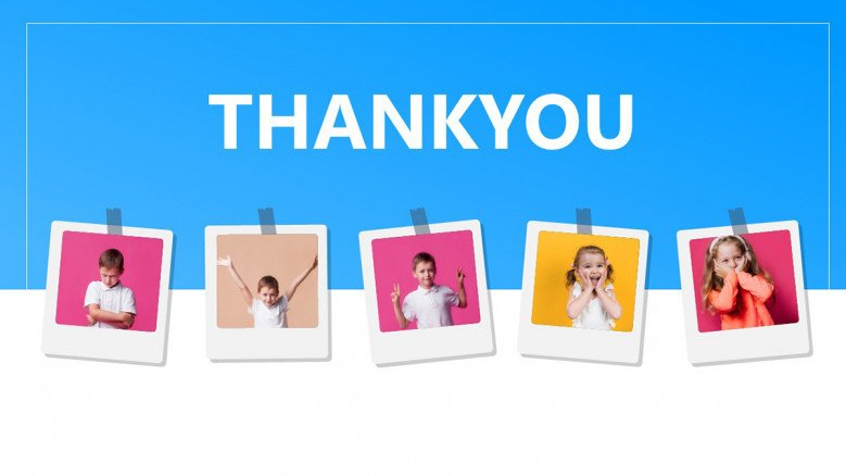 Thank you slide with polaroid photographs hanging