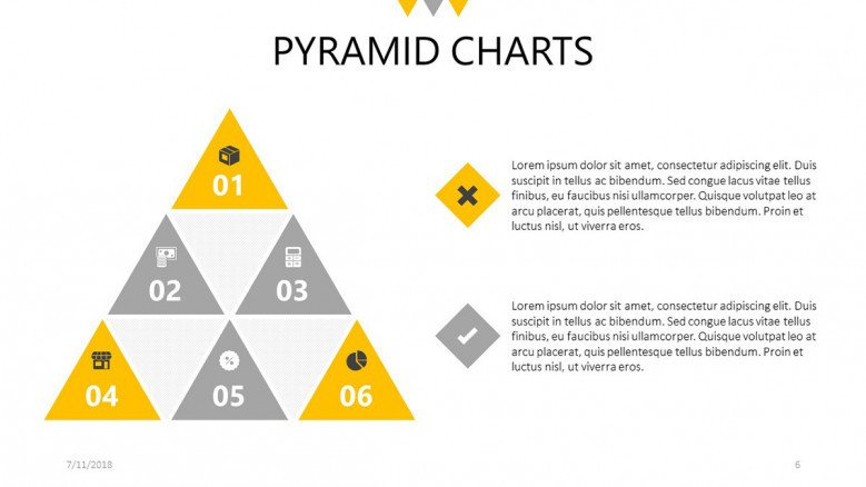 pyramid chart in triangles with icons and description box
