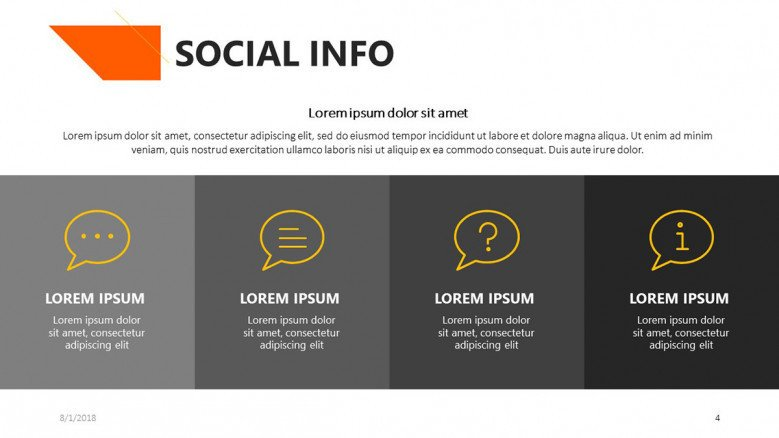 social info slide with comment text box