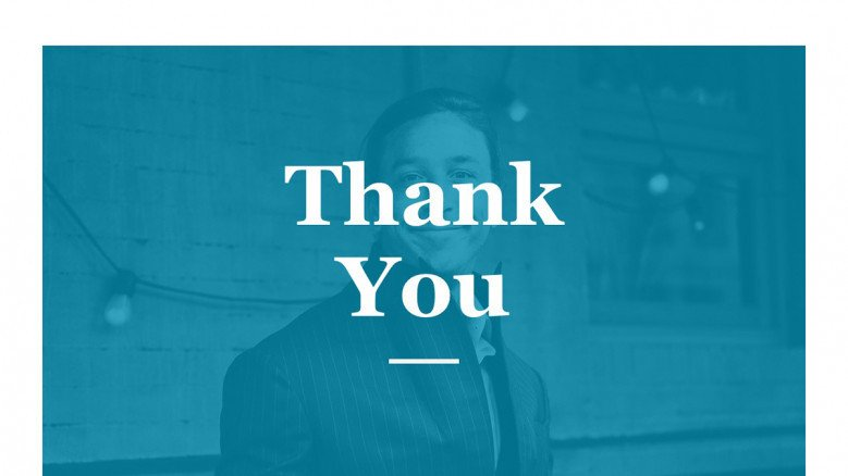 Blue-and-white thank you slide