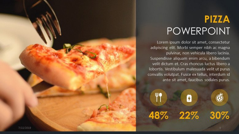 Pizza business slide with icons