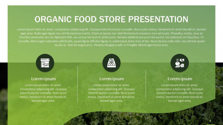 Organic Food Slide with cooking icons