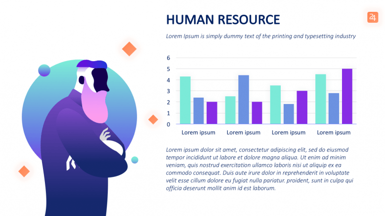 person illustration with bar graphs