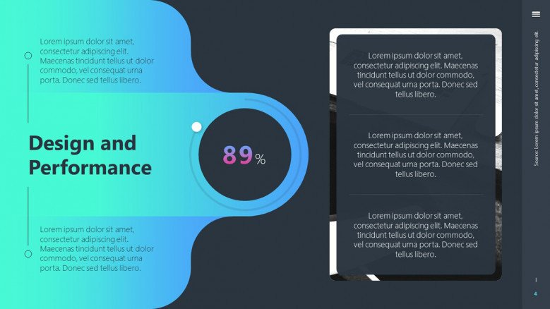 Design and Performance Slide for a tech presentation
