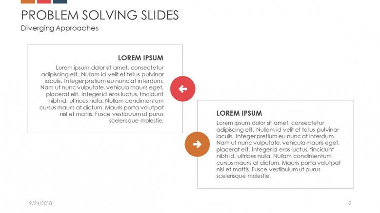 problem solving slide in text with two boxes of positive and negative analysis