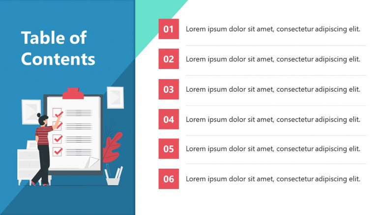 Table of contents slide for a startup pitch deck in creative style