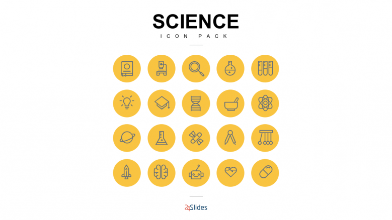 Science icon illustrations with full color icon background