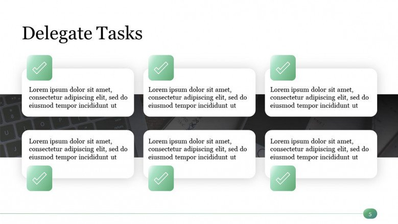 PowerPoint Slide with six boxes for Delegating Tasks