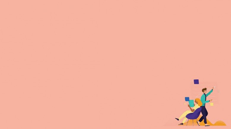 playful presentation background in pink with people illustration