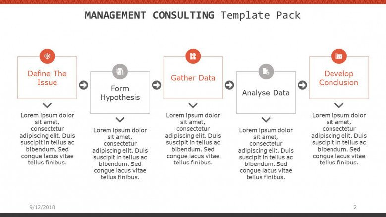 management consulting slide with five segments timeline chart