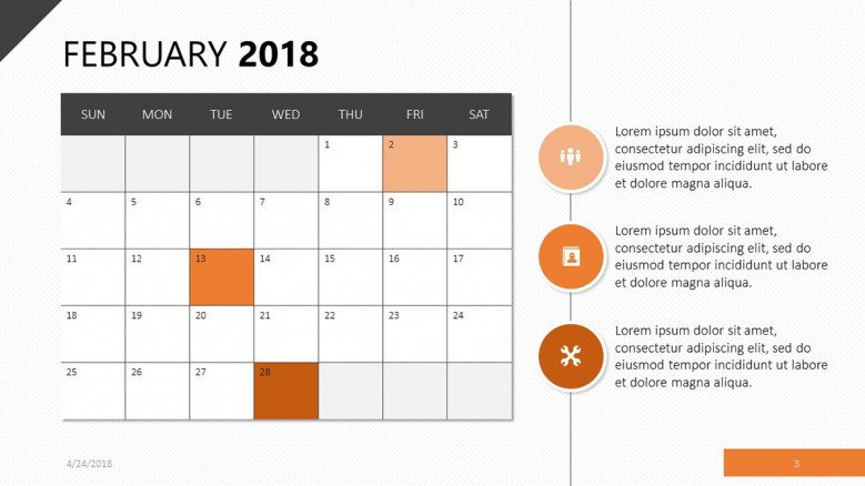 A February 2018 slide in orange with calender