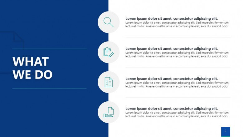 Blue and white text slide with business icons