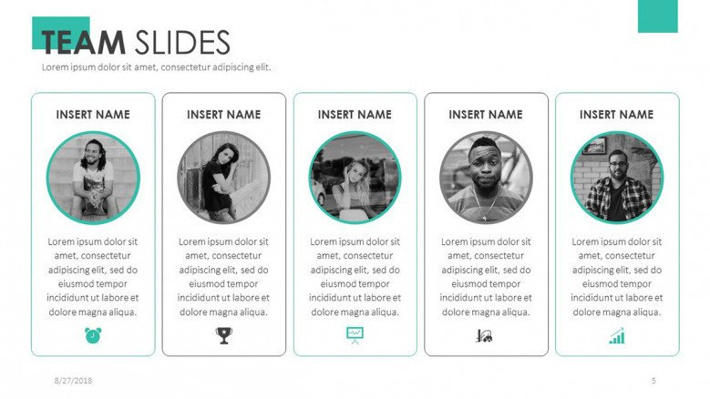 team slide for profile presentation in five column with circle icons