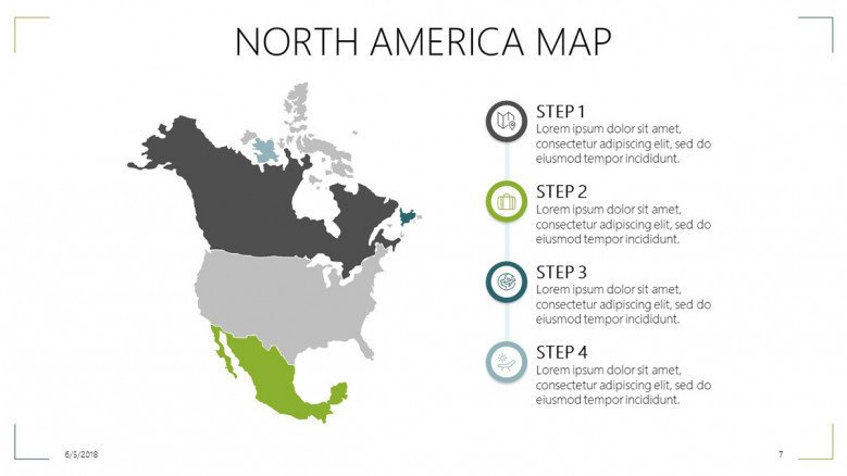 north america map slide with informative texts