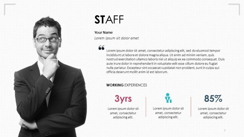 7s framework staff profile slide with text