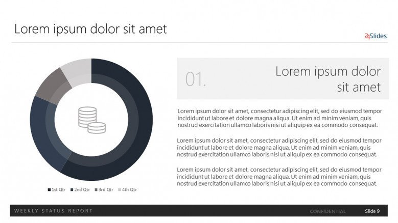 data-driven doughnut chart with text and finance flat icon
