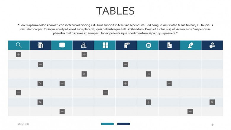 tables with icons and label