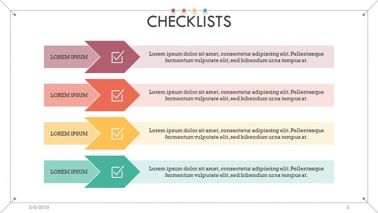 checklist slide in four key points with description text