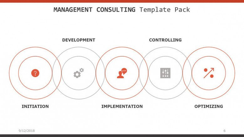 management consulting slide with five target icons