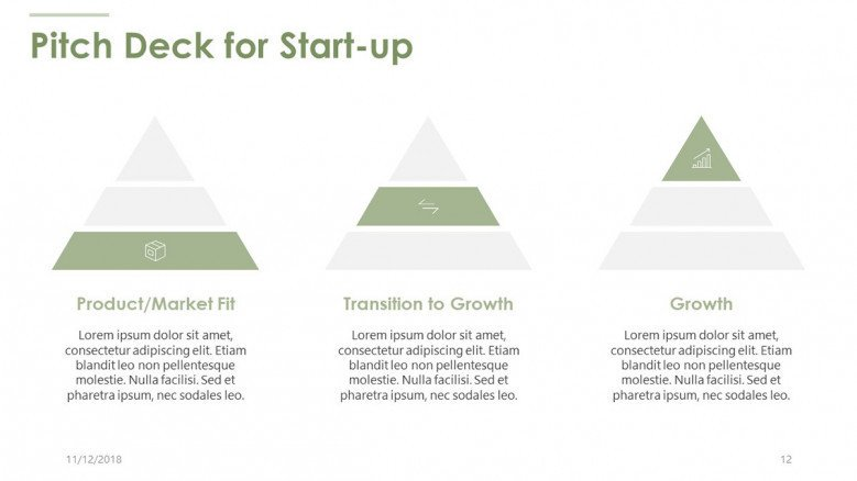 pitch deck for start up in pyramid diagram