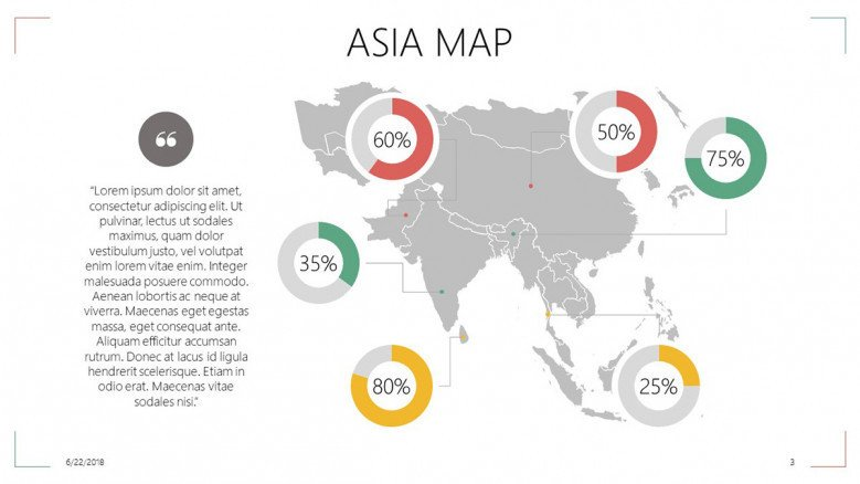 Asia map with data percentage in circle chart and description text