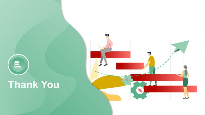 Creative Thank You Slide with illustrations
