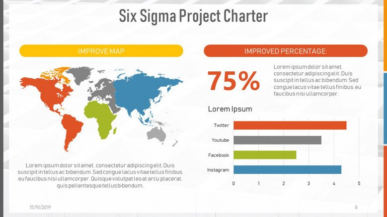 Colorful World Map and data-driven bar charts for a Six Sigma Project Chart Presentation in creative style