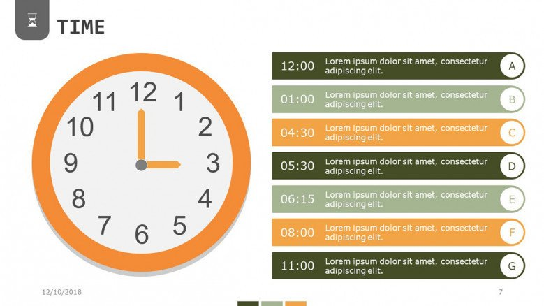 hourly segments in time presentation with seven points
