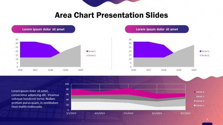 creative area chart cockpit slide with text and data driven information