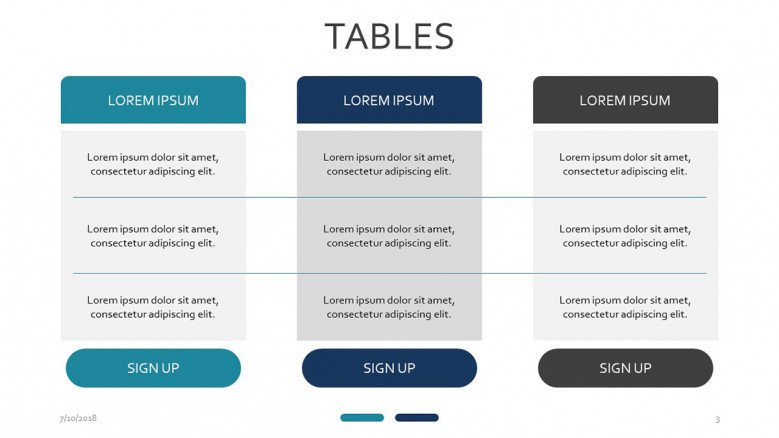 Tables free powerpoint template three set subscription table slide with text toneelgroepblik Gallery