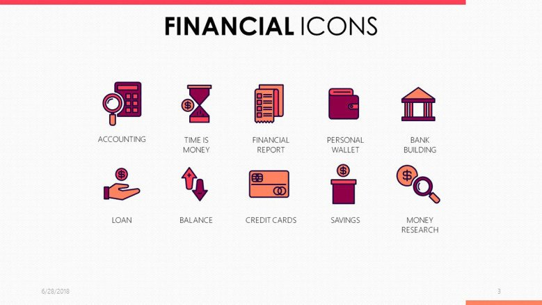 financial icons in pink and purple