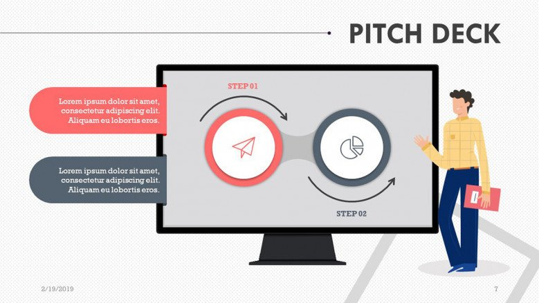 pitch deck slide in compared pie chart