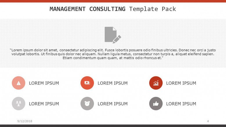 management consultant slide with key factors in icons