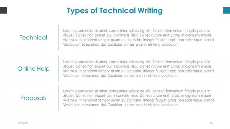 generic text slide on types of technical writing in copywriting