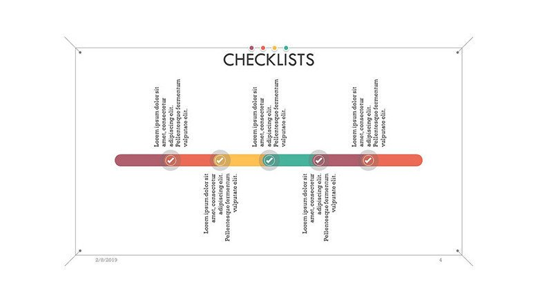 checklist in timeline chart with five time periods and text box