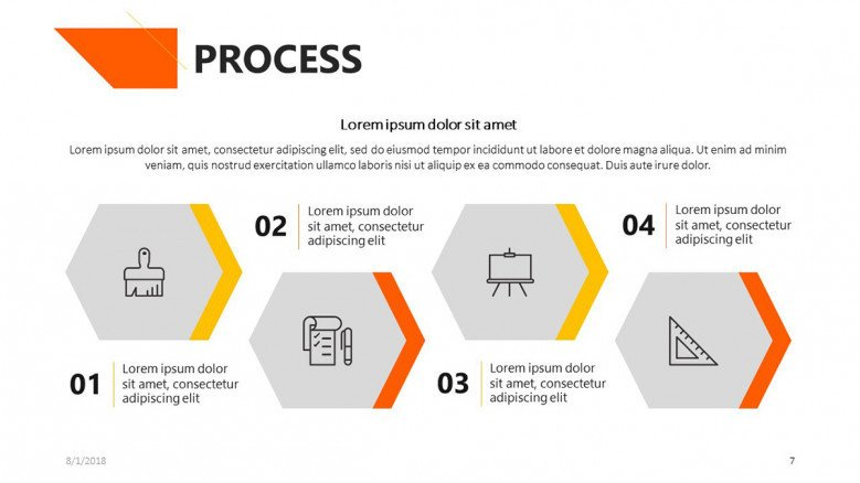 process chart in four steps with icons and description text