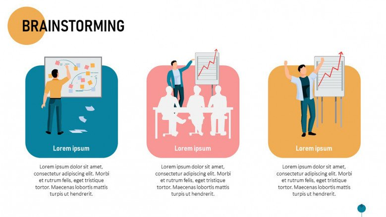 Brainstorming session process slide with illustrations in blue, pink and orange