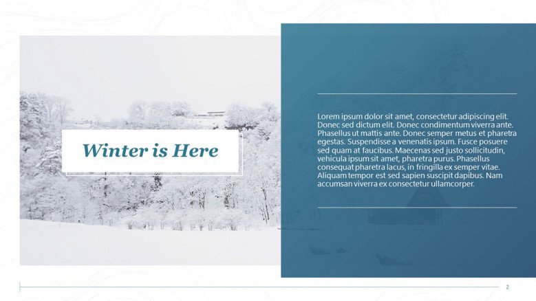 Text and image slide for a snow report
