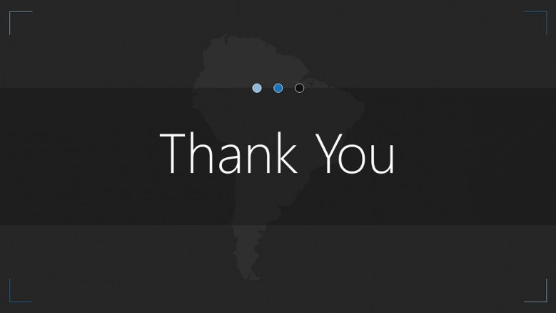 thank you slide of south america map