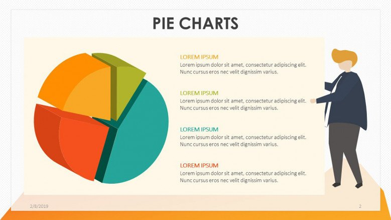 playful pie chart in four main key factors with illustration